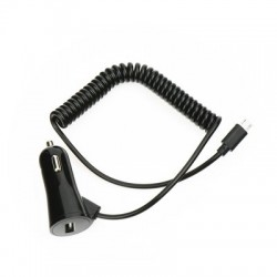 Универсално зарядно за кола BlueStar 3A - за Samsung, Huawei, HTC, LG, Nokia и др. с microUSB кабел (черно)