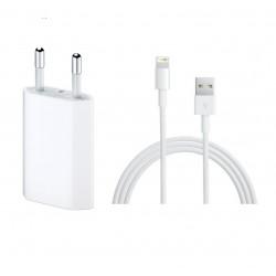 Apple Lightning Charger Set - комплект оригинален USB кабел (1 МЕТЪР) и оригинално захранване за iPhone с Lightning вход